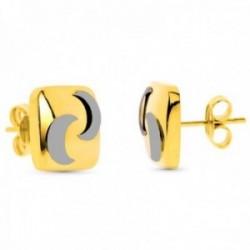Pendientes oro bicolor 18k cuadrados detalle lunas lisos cierre presión