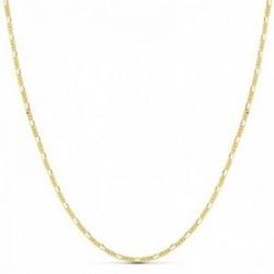 Cadena oro 18k maciza 45cm. eslabones alternos 3x1 lisa