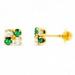 Pendientes oro 18k cuadrados detalle esmeraldas circonitas cierre tuerca