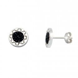 Pendientes plata Ley 925m greca 9mm. cristal negro en resina [6341]