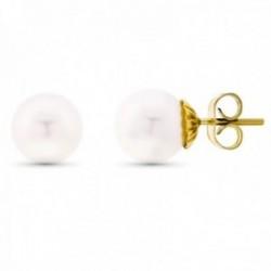 Pendientes oro 18k perla 9mm. cultivada Akoya cierre presión
