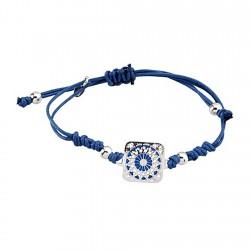 Pulsera plata Ley 925m cordón macramé azul filigrana esmalte [6342]