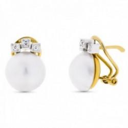 Pendientes oro bicolor 18k perla cultivada japonesa 10-12mm. circonitas cerco cuadrrado cierre omega
