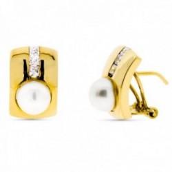 Pendientes oro 18k rectangulares 14mm. perla cultivada carril circonitas cierre omega