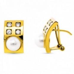 Pendientes oro 18k rectangulares 15mm. perla cultivada circonitas cierre omega