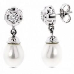 Pendientes oro blanco 18k chatón flor perla cultivadas colgando circonitas cierre presión