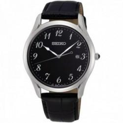 Reloj Seiko hombre SUR305P1 Neo Classic negro piel acero inoxidable