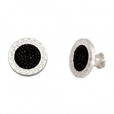 Pendientes plata Ley 925m greca 15mm. cristal negro [6355]