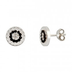Pendientes plata Ley doble greca 10mm. cristal negro blanco [6358]