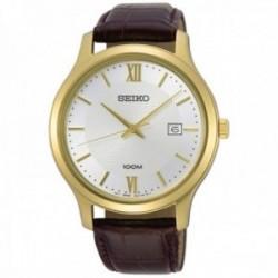 Reloj Seiko hombre SUR298P1 Neo Classic acabado IP dorado acero inoxidable correa piel
