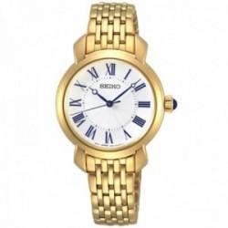 Reloj Seiko mujer SUR626P1 acero inoxidable acabado dorado números romanos azul