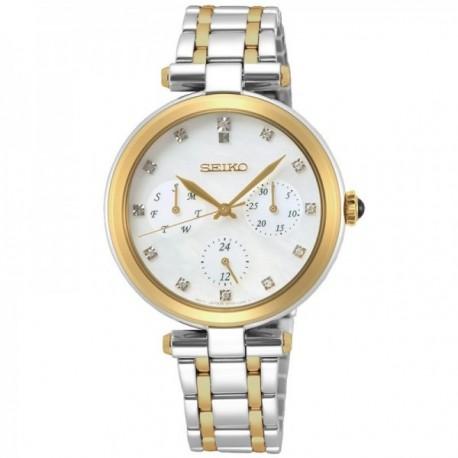 Reloj Seiko mujer SKY660P1 bicolor esfera 12 diamantes acero inoxidable multifunción