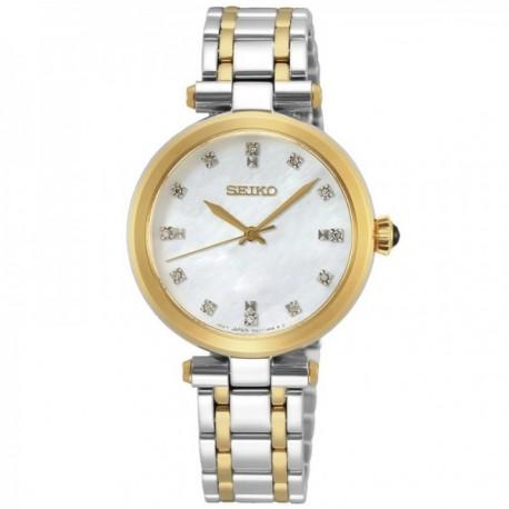 Reloj Seiko mujer SRZ532P1 bicolor esfera 12 diamantes acero inoxidable