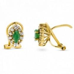 Pendientes oro 18k 9mm. cerco diamantes brillantes centro esmeralda cierre omega