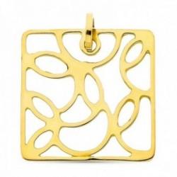 Colgante oro 18k cuadrado interior formas caladas liso