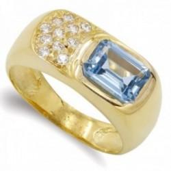 Sortija oro 18k mujer detalle piedra azul agua circonitas estilo sello lisa