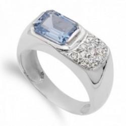 Sortija oro blanco 18k mujer detalle piedra azul agua circonitas estilo sello lisa