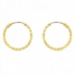 Pendientes oro 18k aros huecos 15mm. retorcidos tallados