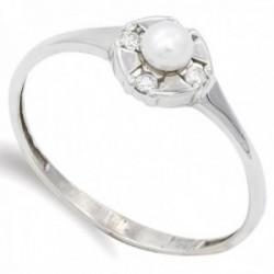 Sortija oro blanco 18k Primera Comunión centro perla cultivada cerco circonitas cuerpo liso