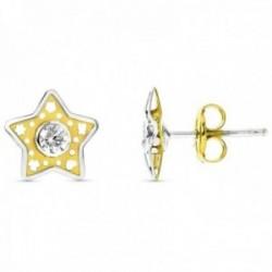 Pendientes oro bicolor 18k niña Primera Comunión estrella centro circonita detalles calados