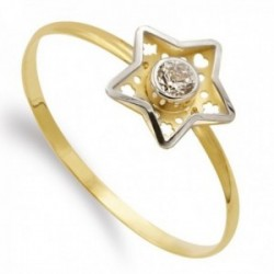 Sortija oro bicolor 18k niña Primera Comunión estrella centro circonita detalles calados