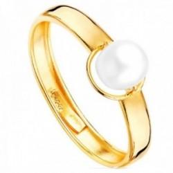 Sortija oro 9k Primera Comunión centro perla 5mm. cultivada cuerpo liso