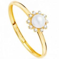 Sortija oro 9k Primera Comunión flor centro perla cultivada cerco circonitas garras lisa