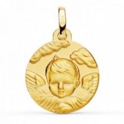 Medalla oro 18k Ángel Niño 16mm. detalle nubes relieve redonda acabado matizado