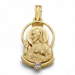 Colgante oro 18k silueta 21mm. Corazón de Jesús detalle circonita
