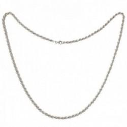 Cordón salomónico plata Ley 925m cadena 80cm. ancho 5mm. liso cierre mosquetón