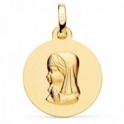 Medalla oro 18k Virgen Niña 16mm. lisa redonda