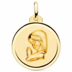 Medalla oro 18k Virgen Niña 20mm. rezando relieve lisa detalle cerco