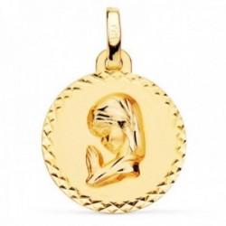 Medalla oro 18k Virgen Niña 16mm. lisa redonda detalle cerco cruces talladas