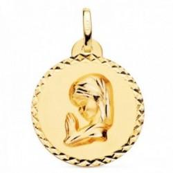 Medalla oro 18k Virgen Niña 20mm. lisa redonda detalle cerco cruces talladas
