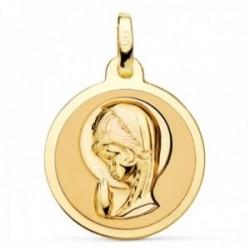 Medalla oro 18k Virgen Niña 18mm. relieve redonda lisa brillo mate