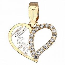 Colgante oro 18k madre bicolor corazón circonitas mamá [6409]