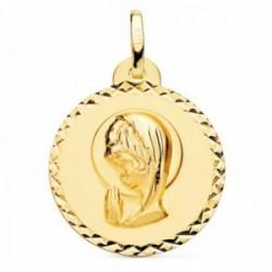 Medalla oro 18k Virgen Niña 20mm. lisa redonda detalle cerco talla cruzada
