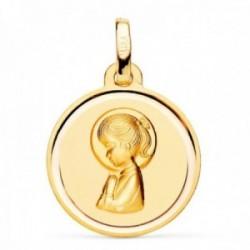 Medalla oro 18k Virgen Niña 16mm. redonda lisa detalle bisel