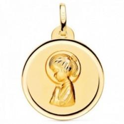 Medalla oro 18k Virgen Niña 20mm. redonda lisa detalle bisel