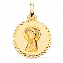 Medalla oro 18k Virgen Niña lisa redonda 16mm. detalle cerco talla cruzada