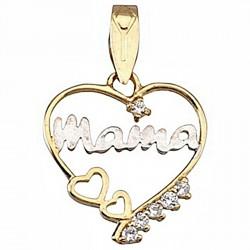 Colgante oro 18k madre bicolor corazón circonita corazones [6411]
