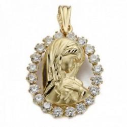 Colgante oro 18k silueta Virgen Niña 20mm. cerco circonitas calado