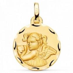 Medalla oro 18k Ángel Niña 16mm. detalle cerco tallado