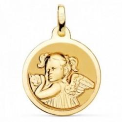 Medalla oro 18k Ángel Niña 18mm. relieve fondo liso redonda