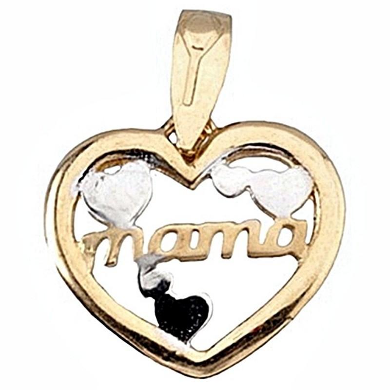 3c1b9fa3b5e7 Colgante oro 18k madre bicolor corazón corazones mamá  6424