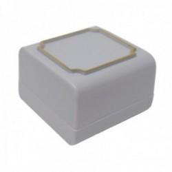 Pack 80 uds. Estuche joya caja plástico sortijas sellos 43x43mm. gris interior espuma