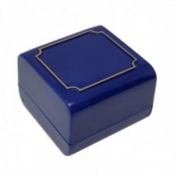 Pack 10 uds. Estuche joya caja plástico sortijas sellos 43x43mm. azul interior espuma