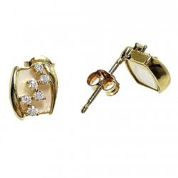 Pendientes oro circonitas nácar cierre presión [332P]