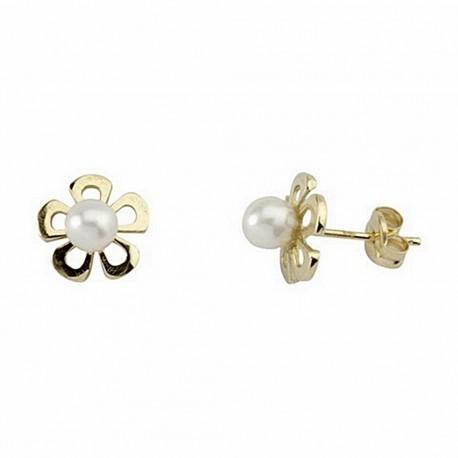Pendiente oro 18k flor centro perla cultivada presión [5191P]