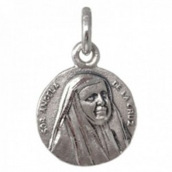 Medalla plata Ley 925m Sor Ángela de la Cruz 13mm. maciza redonda detalles tallados lisa
